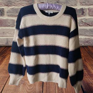 Blue and White Stripped Crew Neck Sweater Size XS
